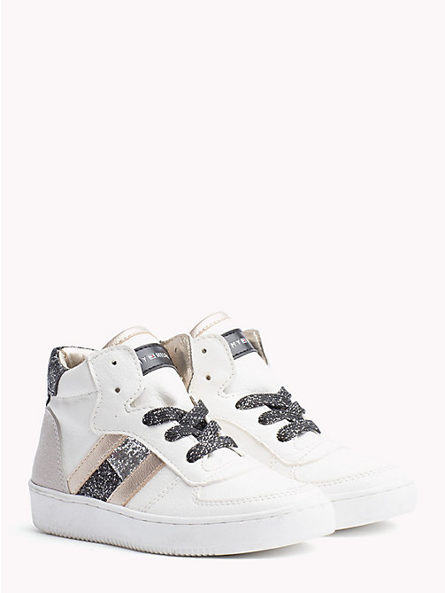 TOMMY HILFIGER Kids' Sparkle High-Top Trainers - WHITE/BLACK/SILVER - TOMMY HILFIGER Shoes & Accessories - main image