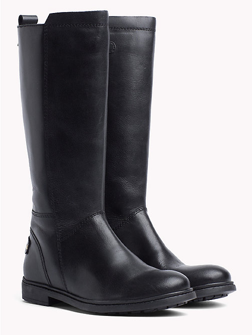 TOMMY HILFIGER Kids' Knee-High Leather Boots - BLACK - TOMMY HILFIGER Girls - main image