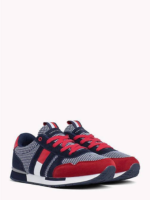 TOMMY HILFIGER Red/Blue Lace-Up Sporty Sneaker - RED / BLUE - TOMMY HILFIGER Chaussures & Accessoires - image principale