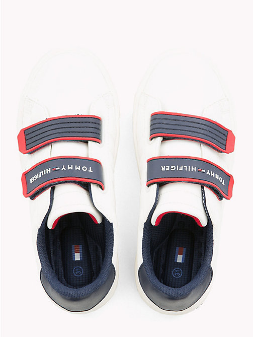TOMMY HILFIGER Kids' Contrast Strap Trainers - WHITE RED - TOMMY HILFIGER Shoes & Accessories - detail image 1