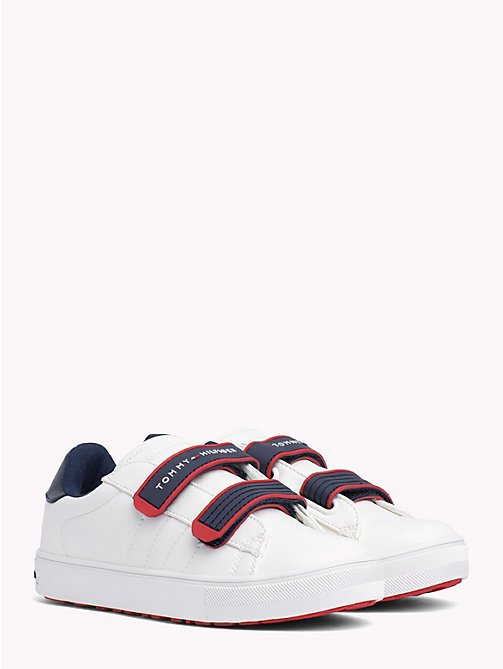 TOMMY HILFIGER Kids' Contrast Strap Trainers - WHITE RED - TOMMY HILFIGER Shoes & Accessories - main image