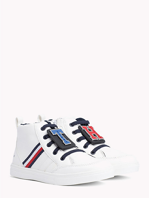 TOMMY HILFIGER Kids' Monogram High-Top Trainers - WHITE - TOMMY HILFIGER Shoes & Accessories - main image