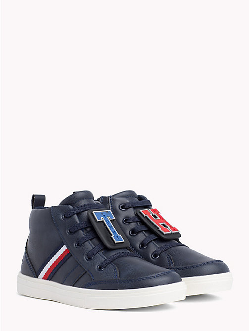 TOMMY HILFIGER Kids' Monogram High-Top Trainers - BLUE - TOMMY HILFIGER Shoes & Accessories - main image