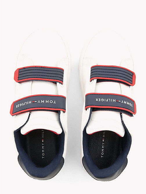 TOMMY HILFIGER Kids' Colour-Pop Velcro Trainers - WHITE RED - TOMMY HILFIGER Shoes & Accessories - detail image 1