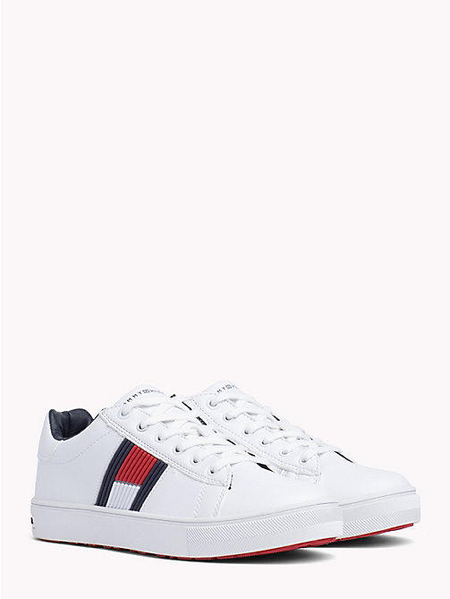 TOMMY HILFIGER Kids' Leather Colour-Blocked Trainers - WHITE - TOMMY HILFIGER Shoes & Accessories - main image