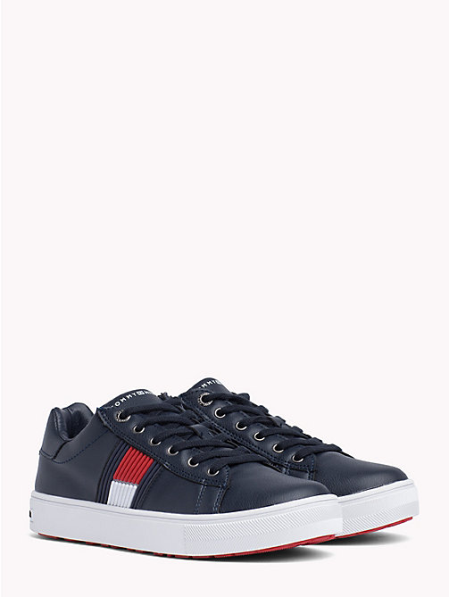 TOMMY HILFIGER Kids' Leather Colour-Blocked Trainers - BLUE - TOMMY HILFIGER Shoes & Accessories - main image