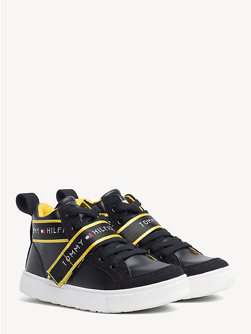 TOMMY HILFIGER Kids' Statement Strap High-Top Trainers - BLACK - TOMMY HILFIGER Shoes & Accessories - main image