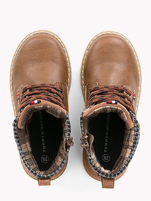TOMMY HILFIGER Kids' Lace-Up Eco Leather Boots - TOBACCO - TOMMY HILFIGER Shoes & Accessories - detail image 1