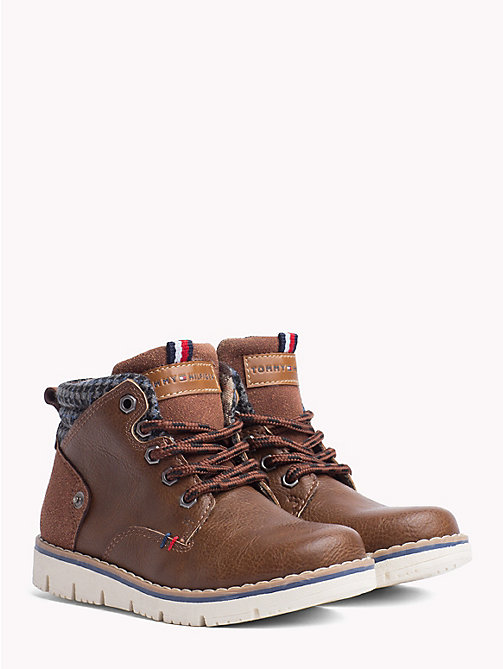 TOMMY HILFIGER Kids' Lace-Up Eco Leather Boots - TOBACCO - TOMMY HILFIGER Shoes & Accessories - main image