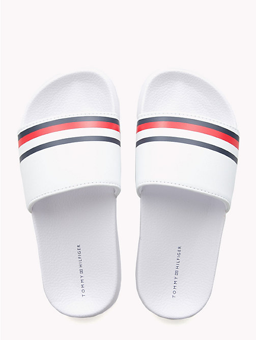 TOMMY HILFIGER Kids' Signature Tape Pool Sliders - WHITE - TOMMY HILFIGER Shoes & Accessories - detail image 1