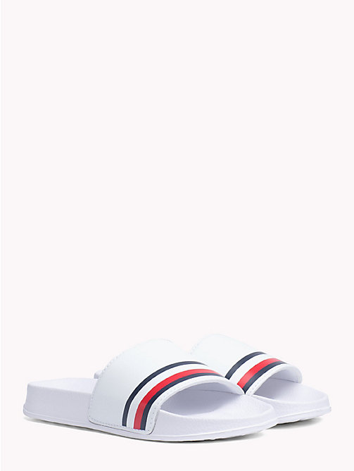 TOMMY HILFIGER Kids' Signature Tape Pool Sliders - WHITE - TOMMY HILFIGER Shoes & Accessories - main image