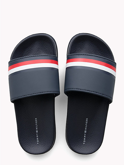 TOMMY HILFIGER Kids' Signature Tape Pool Sliders - BLUE - TOMMY HILFIGER Shoes & Accessories - detail image 1