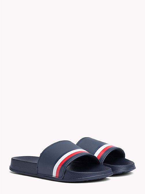 TOMMY HILFIGER Kids' Signature Tape Pool Sliders - BLUE - TOMMY HILFIGER Shoes & Accessories - main image