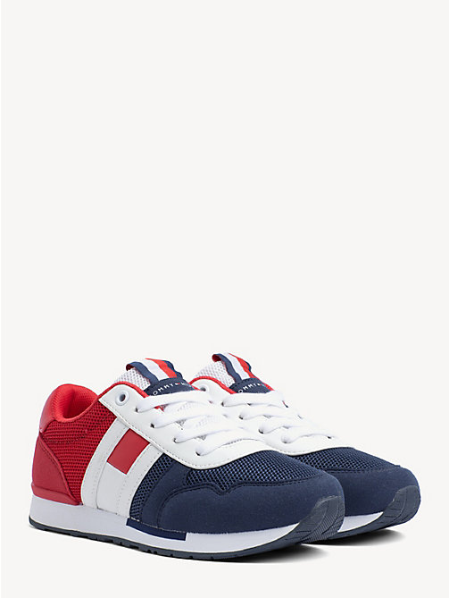 f5bf48ebde2077 TOMMY HILFIGERKids  Signature Colour-Blocked Mesh Trainers
