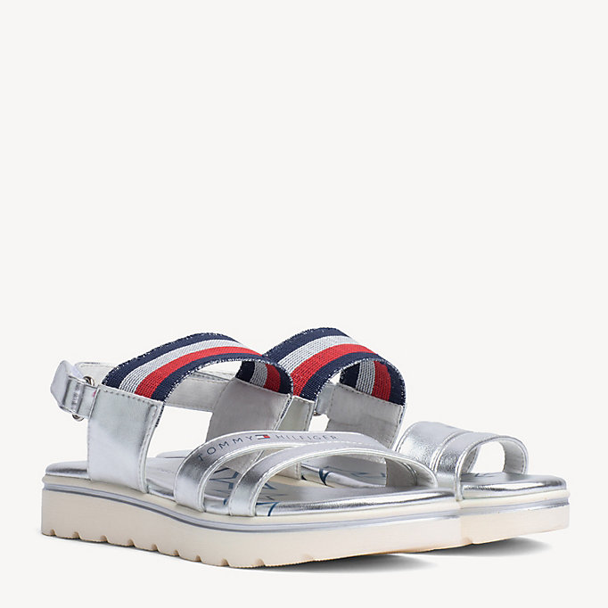 2db572c0b058 Kids  Signature Tape Strap Metallic Sandals. TOMMY HILFIGER
