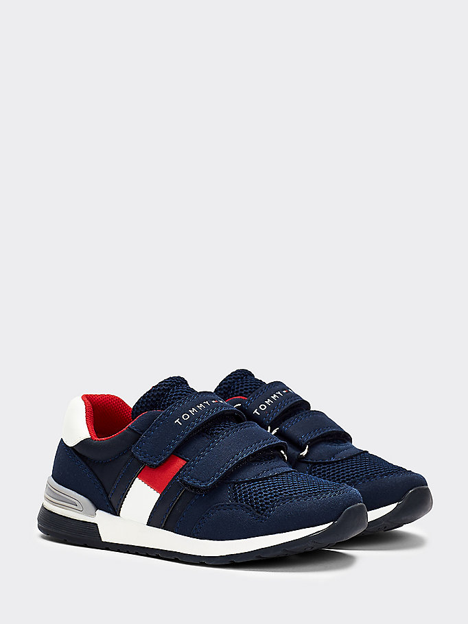 blue mixed texture hook and loop trainers for boys tommy hilfiger