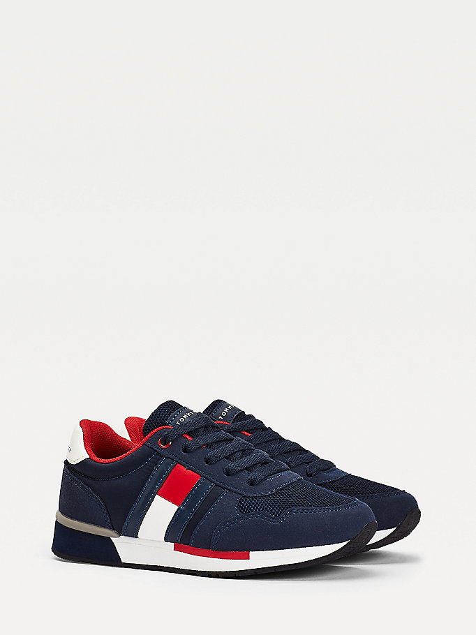 blue mixed texture lace-up trainers for boys tommy hilfiger