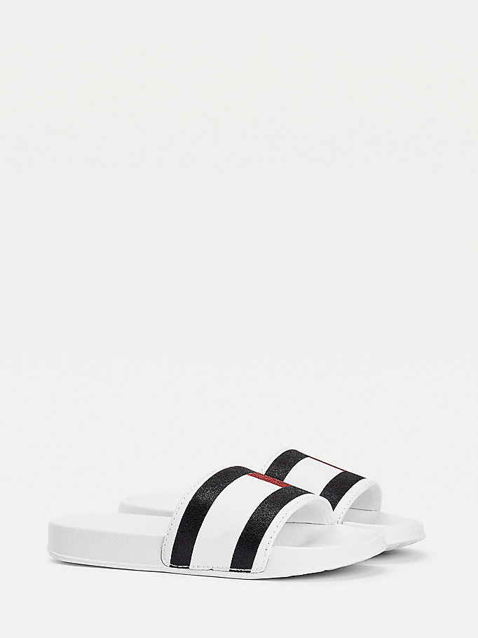 white flag print slides for girls tommy hilfiger