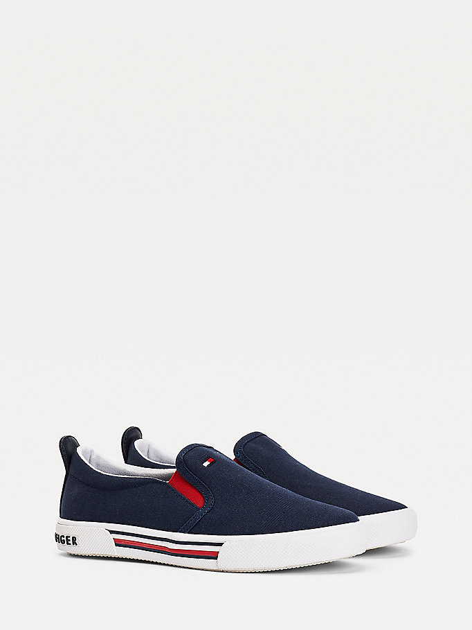blue low-top cotton canvas slip-on trainers for boys tommy hilfiger