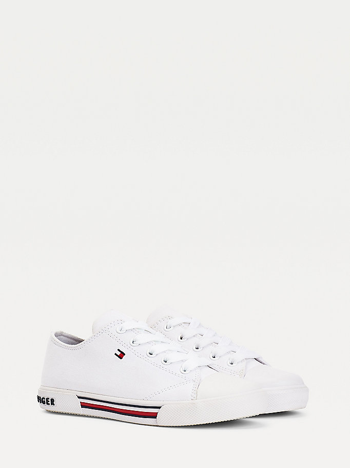 white cotton canvas lace-up low-top trainers for kids unisex tommy hilfiger