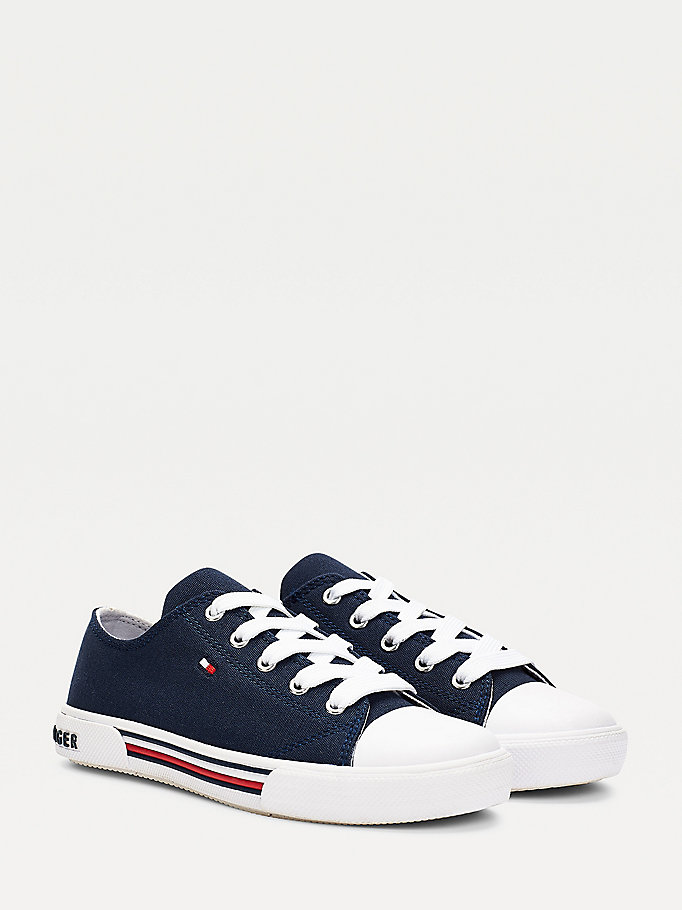 blue cotton canvas lace-up low-top trainers for kids unisex tommy hilfiger
