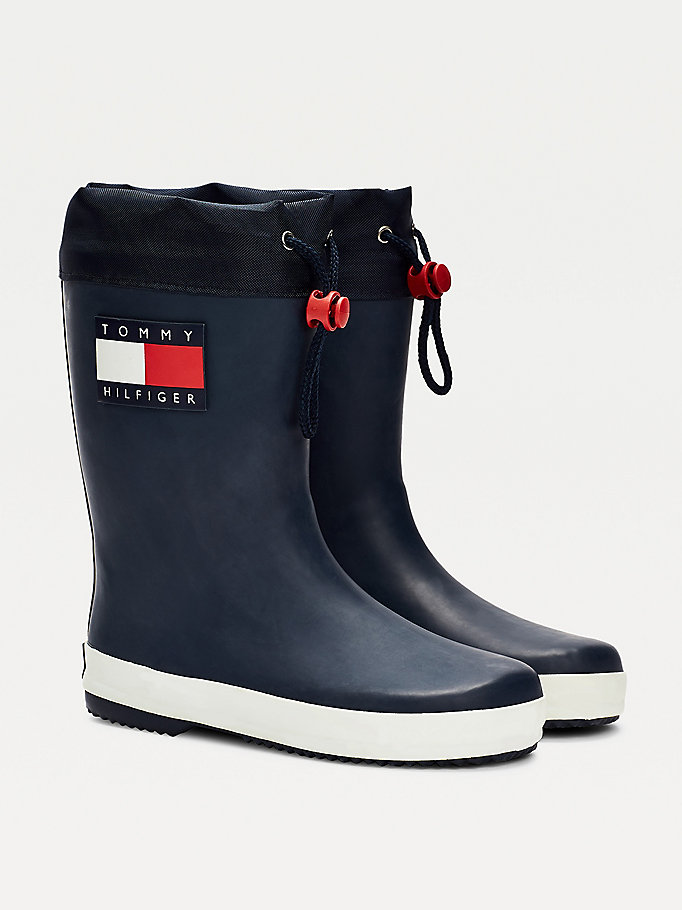 blue logo rain boots for kids unisex tommy hilfiger