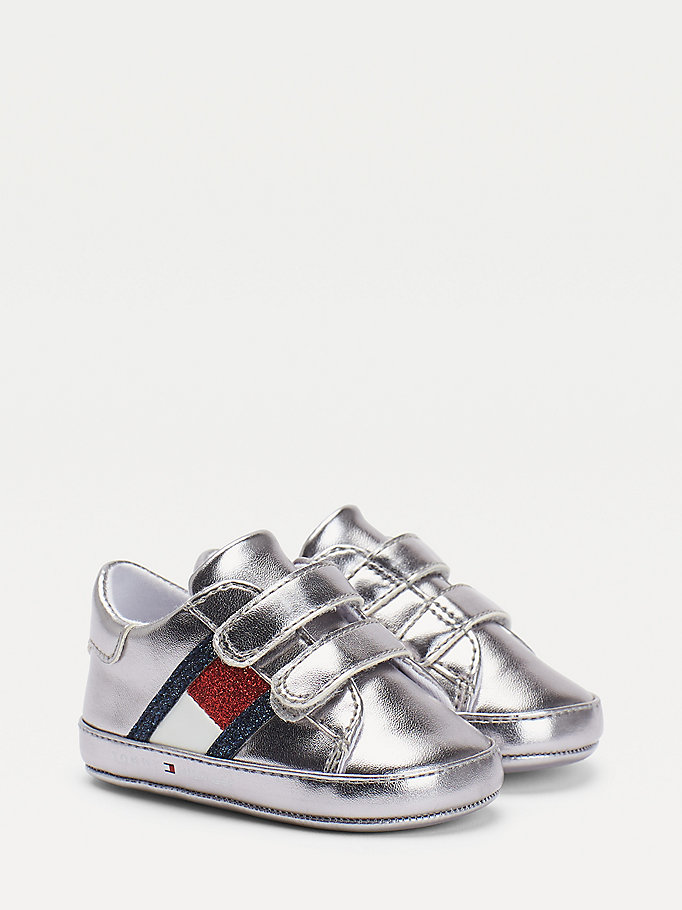 silver metallic finish hook and loop trainers for girls tommy hilfiger