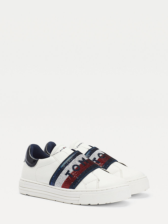 white slip-on low-top trainers for girls tommy hilfiger