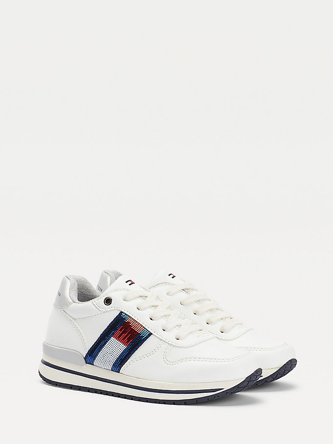 white metallic flag lace-up trainers for girls tommy hilfiger