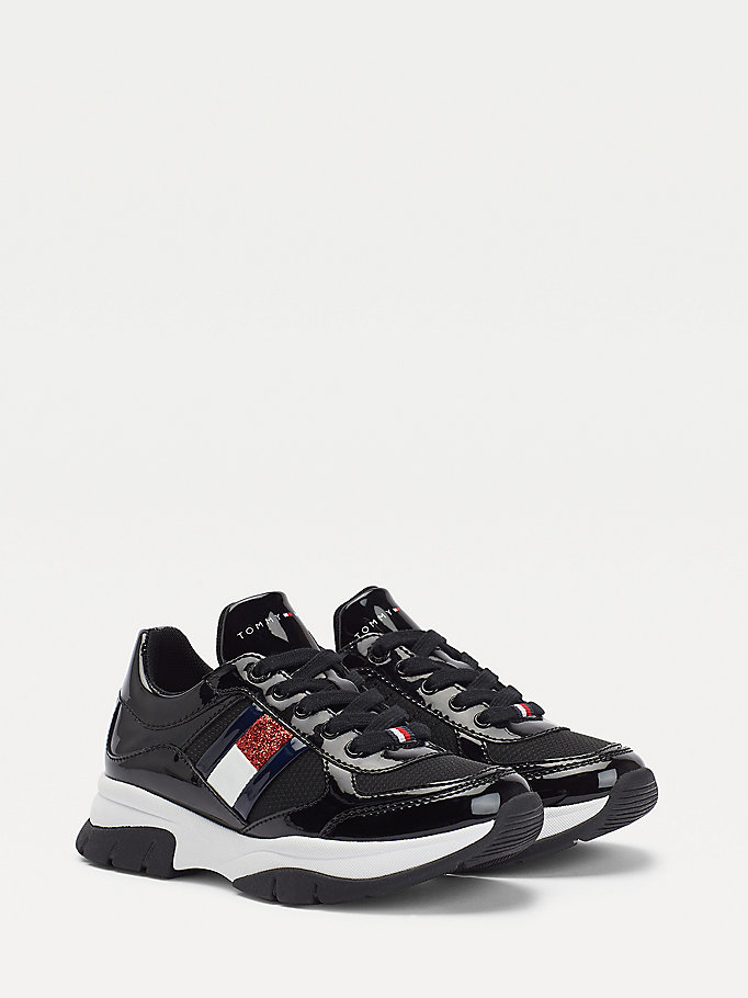 black flag lace-up trainers for girls tommy hilfiger