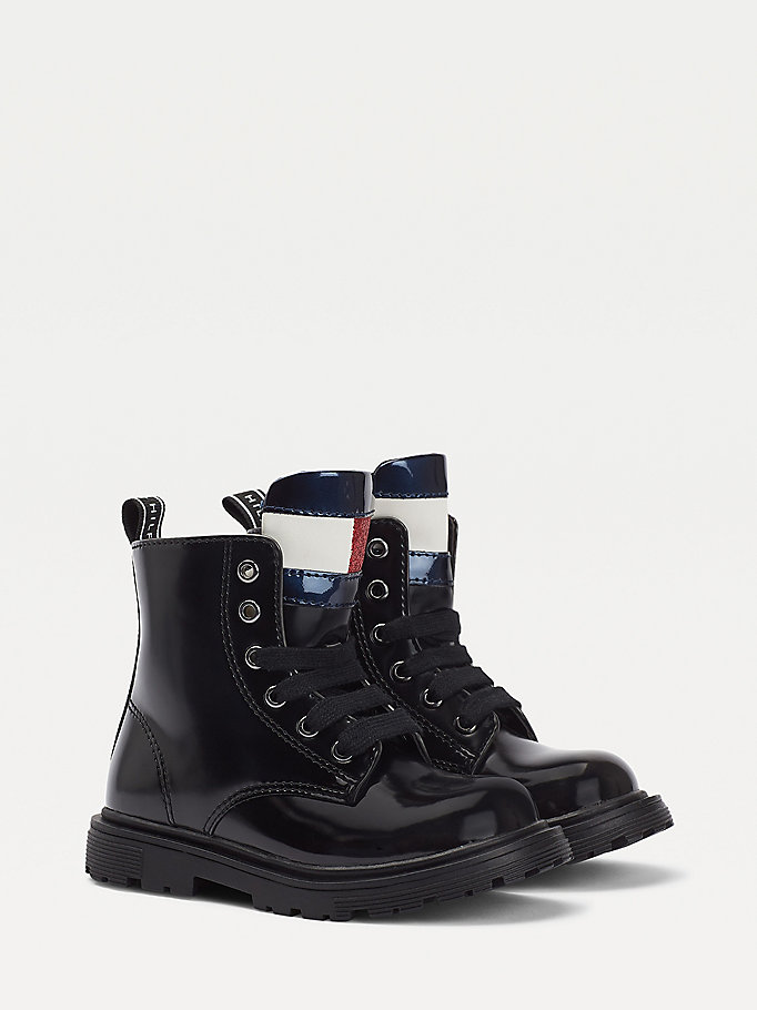 bottines à lacets noir pour girls tommy hilfiger