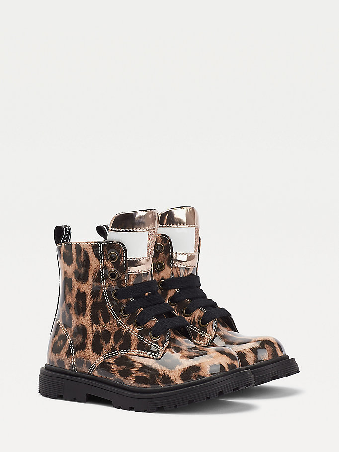 beige leopard print lace-up boots for girls tommy hilfiger
