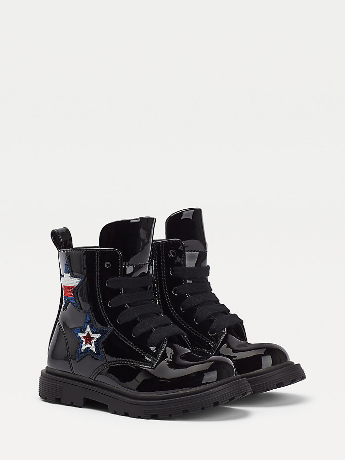 black star appliqué lace-up boots for girls tommy hilfiger