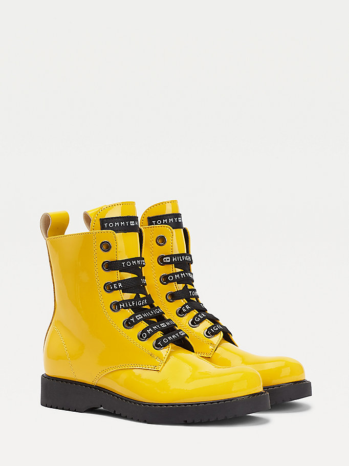 yellow high-shine lace-up boots for girls tommy hilfiger