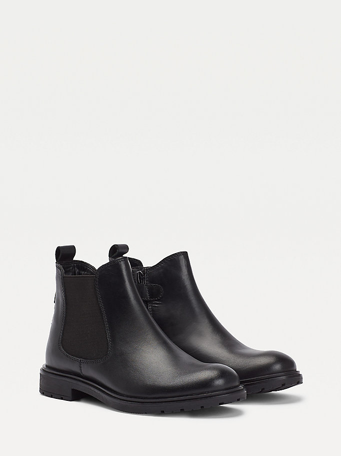 black iridescent chelsea boots for girls tommy hilfiger