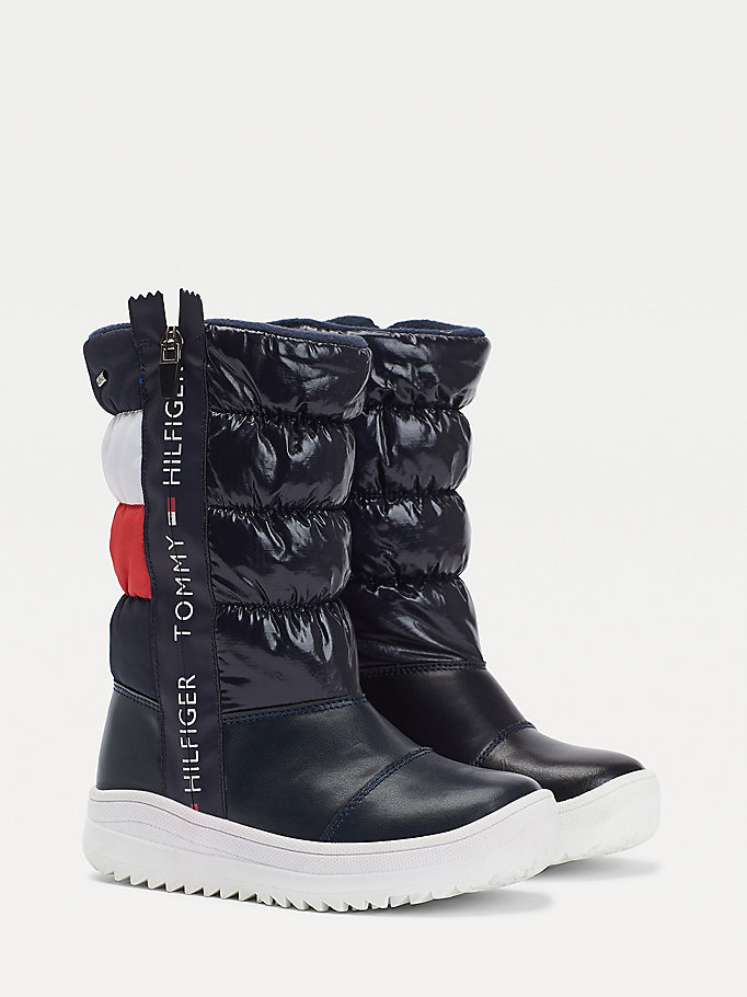 blue puffer style zip-up boots for girls tommy hilfiger