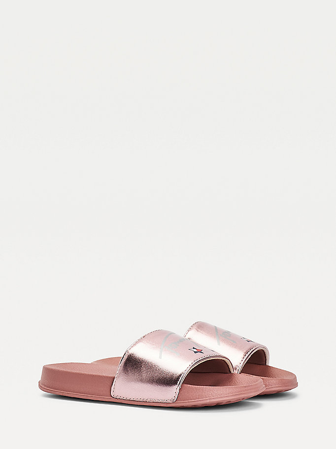 pink metallic strap slides for girls tommy hilfiger