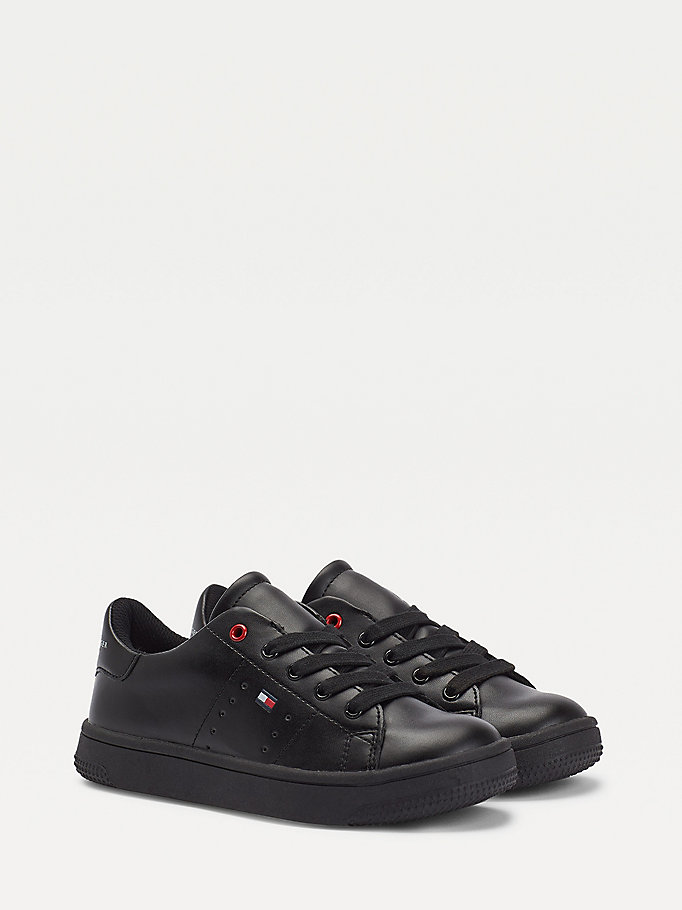 schwarz low-top lace-up sneaker für boys - tommy hilfiger