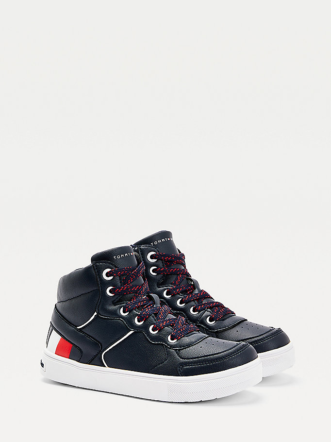 blue high-top lace-up signature trainers for boys tommy hilfiger