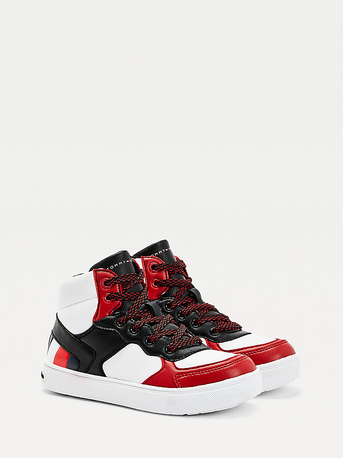 red colour-blocked high-top trainers for boys tommy hilfiger