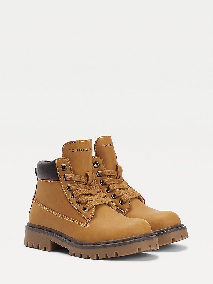 yellow lace-up booties for boys tommy hilfiger