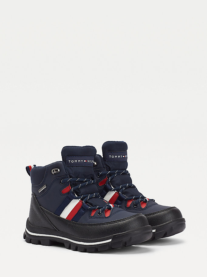 blue technical lace-up booties for boys tommy hilfiger