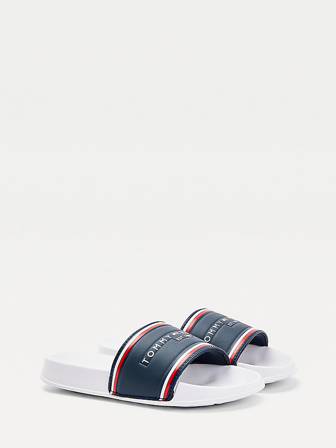 white colour-blocked logo pool slides for boys tommy hilfiger