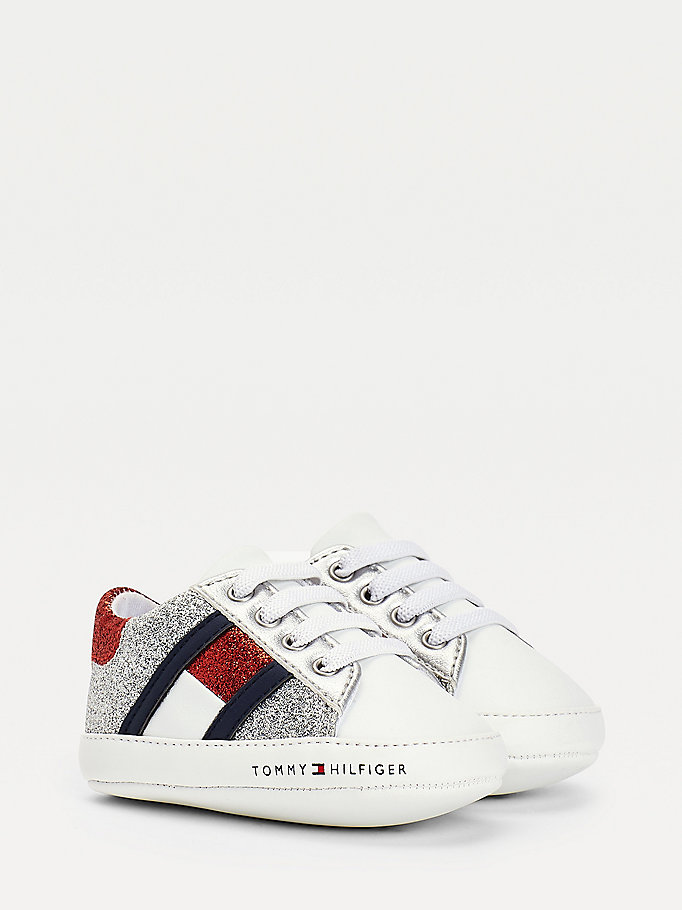 baskets à lacets et finition pailletée blanc pour girls tommy hilfiger