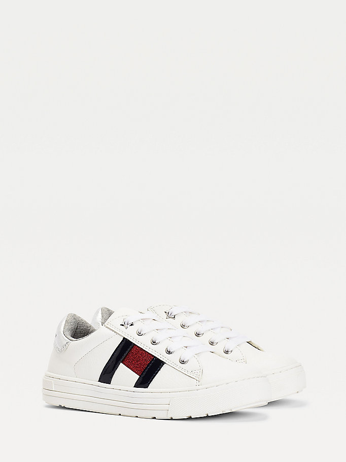 white flag low-top trainers for girls tommy hilfiger