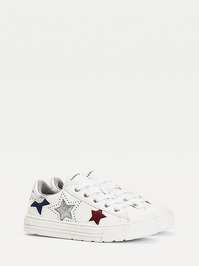 white sparkle star trainers for girls tommy hilfiger