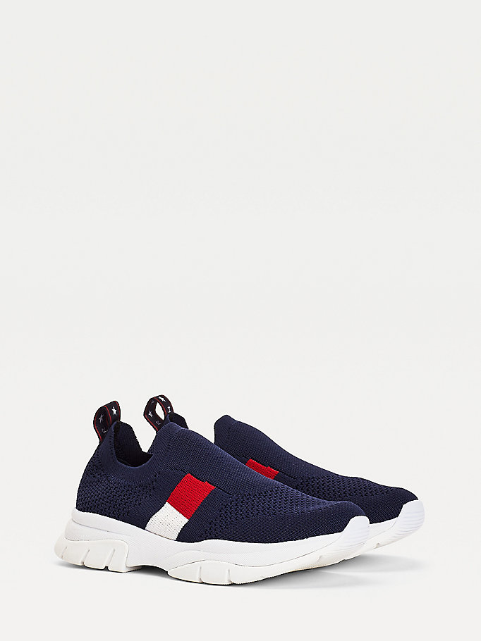 blue chunky slip-on trainers for girls tommy hilfiger