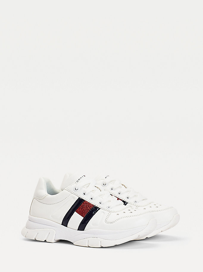 white glitter flag trainers for girls tommy hilfiger