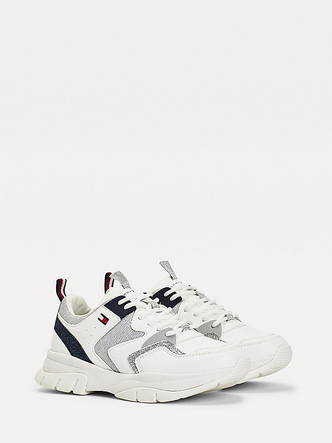 white metallic panel trainers for girls tommy hilfiger