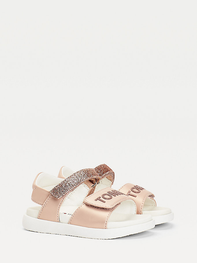 pink glitter sandals for girls tommy hilfiger